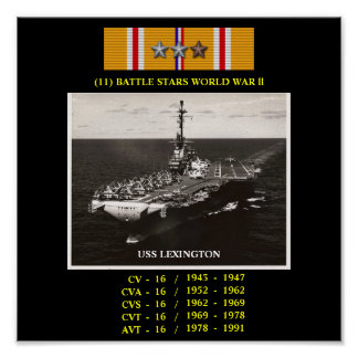 AFFISCH FÖR USS LEXINGTON CV CVA CVS CVT AVT-16