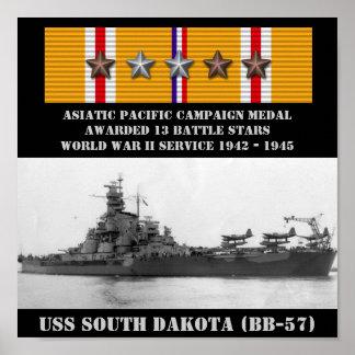 AFFISCH FÖR USS SOUTH DAKOTA (BB-57)