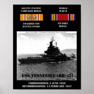 AFFISCH FÖR USS TENNESSEE (BB-43)