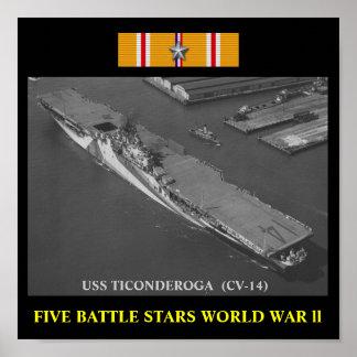 AFFISCH FÖR USS TICONDEROGA (CV-14)