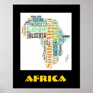 Affisch för vägg för afrikaordkonst