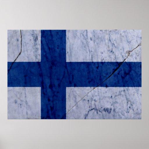 Affisch för vägg för sten för Finland flaggamarmor