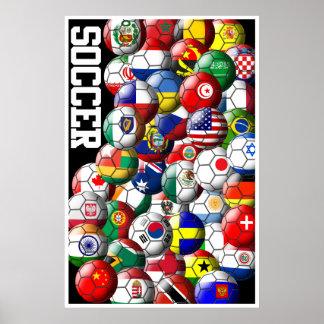 Affisch för världsfotbollbollar