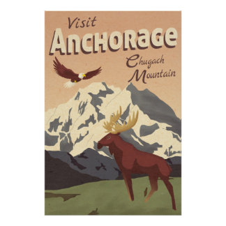 Affisch för vintage resor för ankringChugach berg