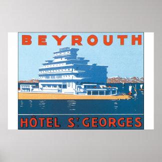 Affisch för vintage resor för Beyrouth St. Georges