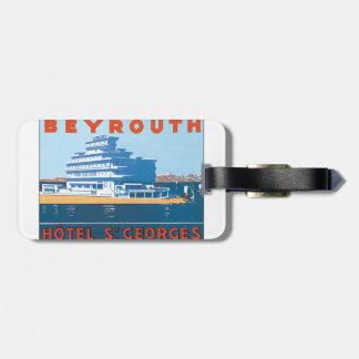 Affisch för vintage resor för Beyrouth St. Georges Bagagebricka