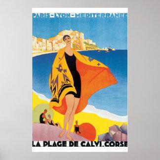 Affisch för vintage resor för LaPlagede Calvi