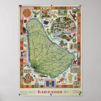Affisch för vintageBarbados karta