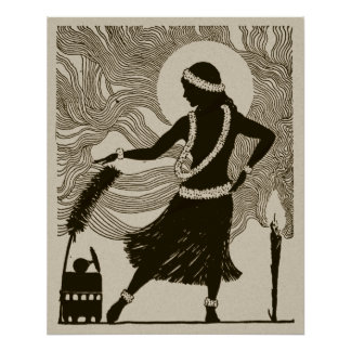 Affisch för vintageHawaii Hula flicka