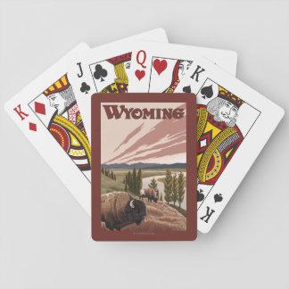 Affisch för Yellowstone River Bisonvintage resor Spel Kort