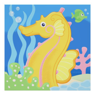 affisch - gullig tropisk havshäst poster