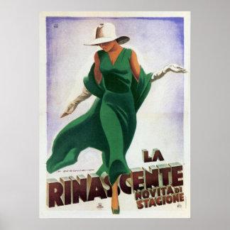 Affisch med det italienska modetrycket för vintage