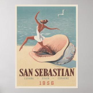 Affisch med det San Sebastian advertizingtrycket Poster