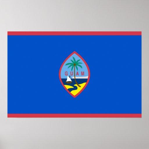 Affisch med flagga av Guam, USA
