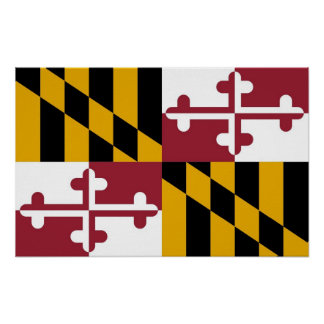 Affisch med flagga av Maryland, USA