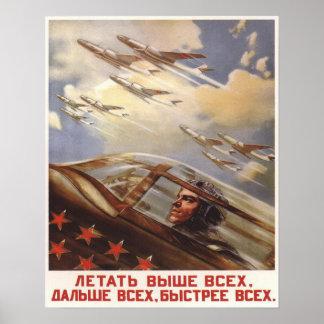 Affisch med propaganda för vintageUSSR flygvapen