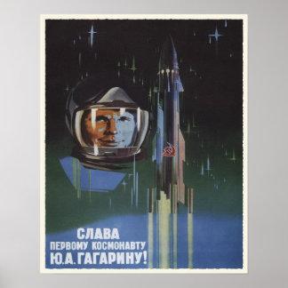 Affisch med propaganda för vintageUSSR rymdprogram