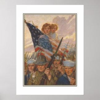 Affisch med propagandatrycket för amerikan WWII