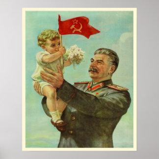 Affisch med trycket för vintageStalin propaganda