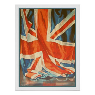 Affisch med vintageflagga från United Kingdom