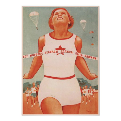 Affisch med vintagesovjet - facklig propaganda
