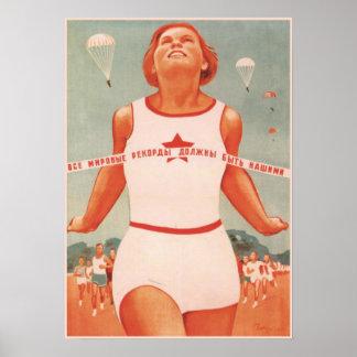 Affisch med vintagesovjet - facklig propaganda poster