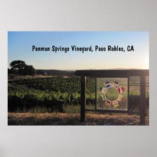 Affisch: Penmanen fjädrar vingården, Paso Robles,