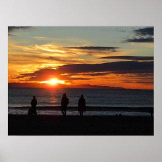 Affisch: Solnedgång på den Ventura stranden i Poster