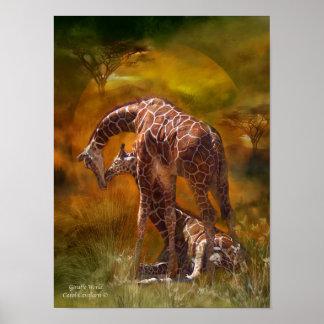 Affisch/tryck för giraffvärldskonst poster