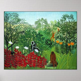 Affisch/tryck: Tropisk skog med apor Poster