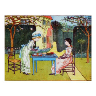 Affisch: Två Victorianflickor som har Tea Poster
