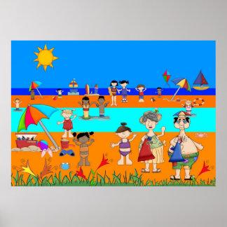 Affischbarndag på stranden poster