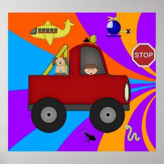 Affischbarnpojkar, färgrika vägar affisch
