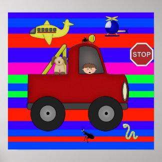 Affischbarnpojkar, färgrika vägar 2 affisch