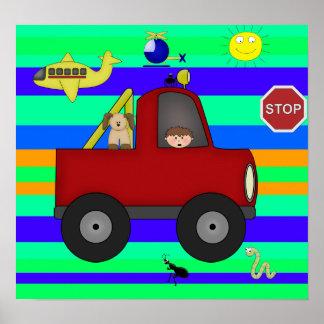 Affischbarnpojkar, färgrika vägar 3 affischer