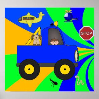 Affischbarnpojkar, färgrika vägar 4 poster