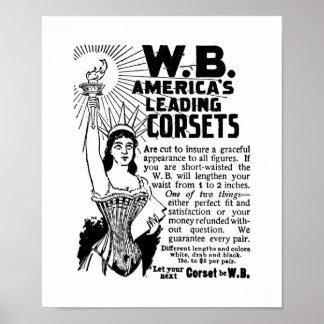 Affischen korsetterar damvärlden Januari 1896 Poster