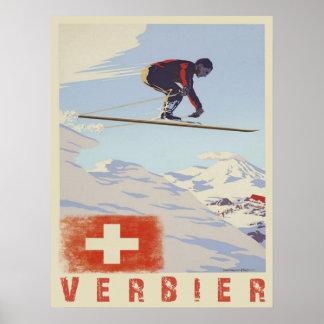 Affischen med Schweitz vintage skidar trycket Poster
