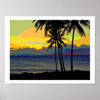 Affischer för vintageHawaii solnedgång