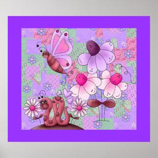 Affischungeflickan lappar trädgårds- Mauve