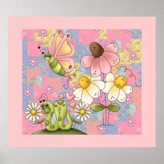 Affischungeflickan lappar trädgårds- rosor