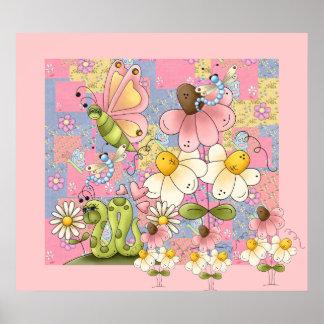 Affischungeflickan lappar trädgårds- rosor 2 poster