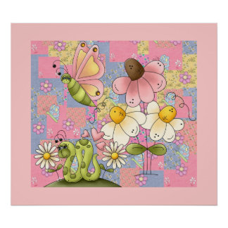Affischungeflickan lappar trädgårds- rosor poster