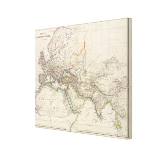 Afrika, Europa och western Asien kartbokkarta Canvastryck