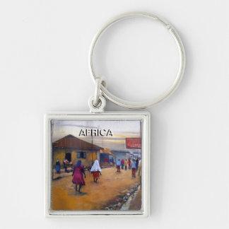 AFRIKA Keychain VID MOJISOLA A GBADAMOSI OKUBULE Fyrkantig Silverfärgad Nyckelring