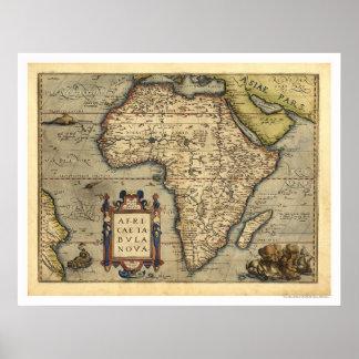 Afrikakarta vid Ortelius 1570 Poster