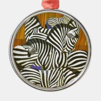 Afrikan reser affischen med zebror julgransprydnad metall