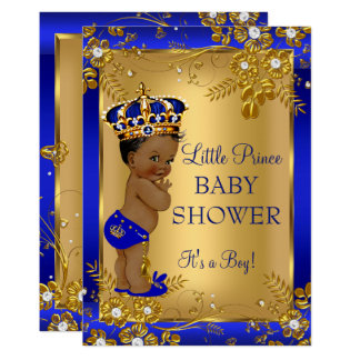 Afrikansk amerikan för blått för baby shower för 12,7 x 17,8 cm inbjudningskort