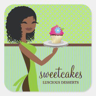Afrikansk amerikan för grönt för 311 muffinCutie Fyrkantigt Klistermärke