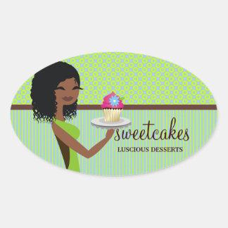 Afrikansk amerikan för grönt för 311 muffinCutie Ovalt Klistermärke